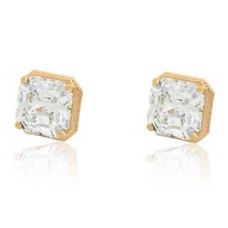 Gioelli 14k Gold 8mm Princess-Cut cubic zirconia Stud Earrings