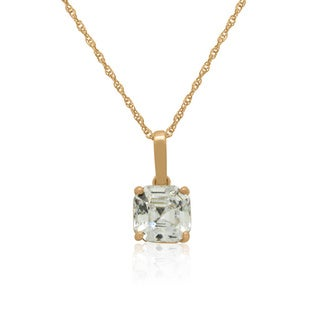 Gioelli 14k Gold 8mm Asscher-Cut cubic zirconia Pendant Necklace