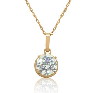 Gioelli 14k Gold 8mm Round-Cut cubic zirconia Pendant Necklace