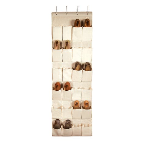 Richards Homewares Nature of Storage Canvas 24-pocket Over-the-Door Shoe Organizer