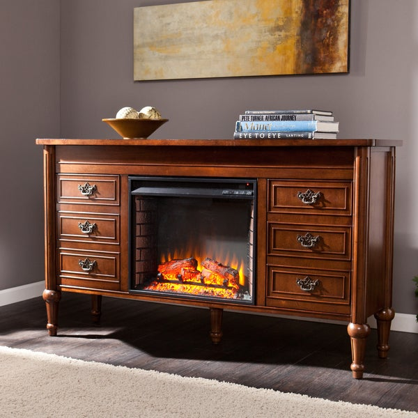 Shop Harper Blvd Lismore 60 Inch Whiskey Maple Electric Fireplace