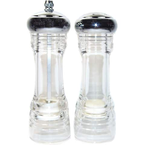 6-inch Clear Acrylic Pepper Mill and Salt Shaker Set