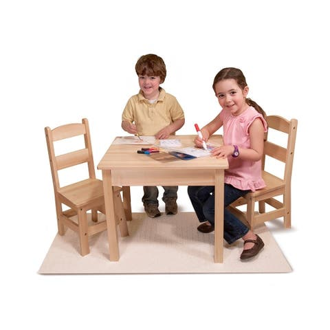 Melissa & Doug Children's Natural Brown Wooden Table and Chairs Set