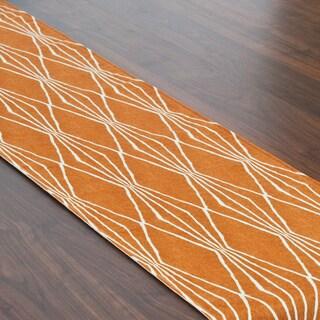 Handcut Shapes Crushed Orange Lined Table Runner