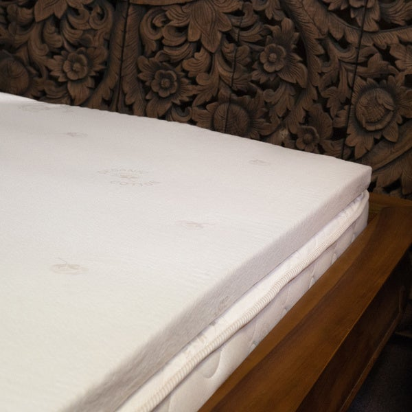 Natural Latex 2-inch Mattress Topper with Organic Cotton Cover
