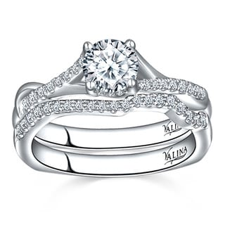 14k White Gold 1ct TDW Round-cut Valina Designer Diamond Bridal Set Ring