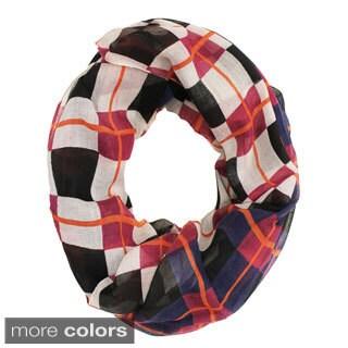 Le Nom Color Mix Plaid Infinity Scarf - 35 x 71
