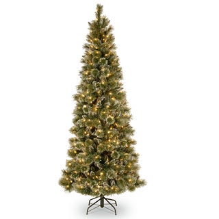 7.5-foot Glittery Bristle Slim Pine Hinged Tree with White Tipped Cones