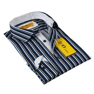 BriO Milano Men's Blue/ White Stiped Button Down Dress Shirt