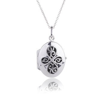 Blue Box Jewels Oxidized Sterling Silver Open Four Leaf Clover Pendant