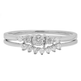 Elora 10k White Gold 1/4ct TDW Diamond 5-stone Engagement Ring with Band Bridal Set (H-I, I1-I2)