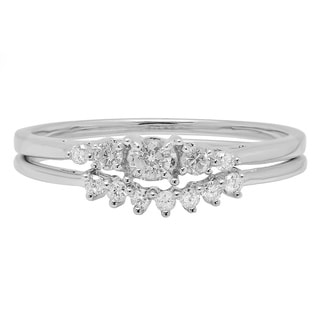 10k White Gold 1/4ct TDW Diamond 5-stone Engagement Ring with Band Bridal Set (H-I, I1-I2)