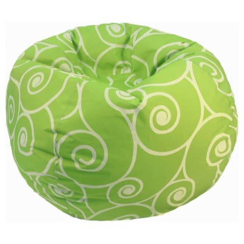 Lime Scrolls and Swirls Bean Bag Chair