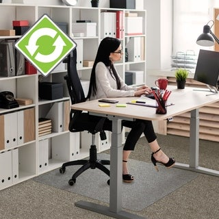 "EcoTex Evolutionmat Recyclable Chair Mat For Standard Pile Carpets (3/8"" or less) Rectangular with Lip Size 48"" x 51"""