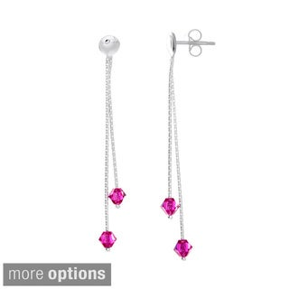 Sterling Silver Crystal Birthstone Drop Earrings