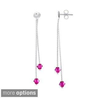 Sterling Silver Crystal Birthstone Drop Earrings