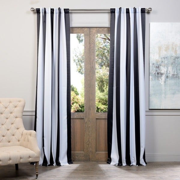 Shop exclusive fabrics black and white vertical striped blackout curtain panel set on sale for Black and white striped bedroom curtains