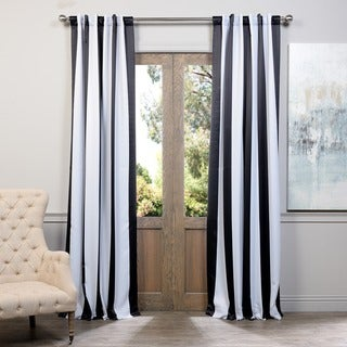 Exclusive Fabrics Black and White Vertical Striped Blackout Curtain Panel Set