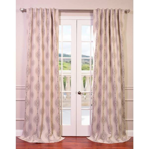 Exclusive Fabrics Jaipur Damask Brown Tan Blackout Curtain Panel Pair