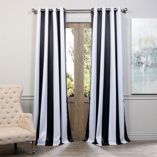 Exclusive Fabrics Awning Black/White Stripe Grommet Blackout Curtain Panel Pair