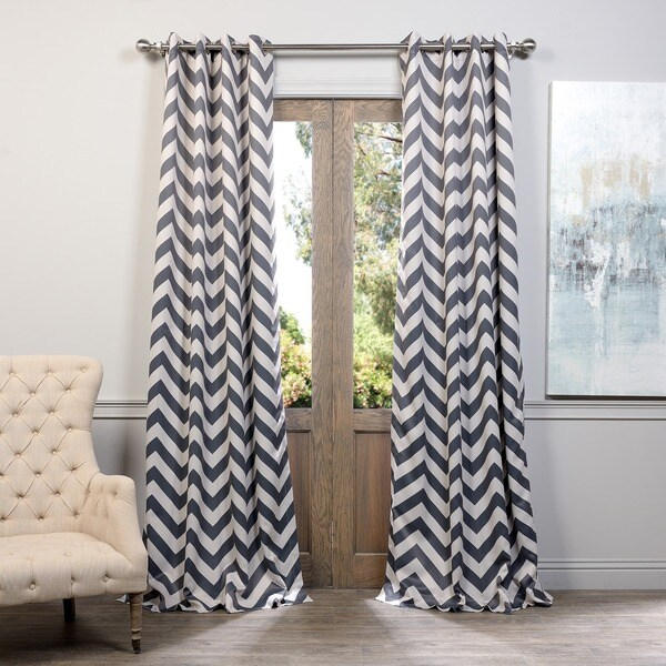 Exclusive Fabrics Fez Grey/Tan Grommet Top Blackout Curtain Panel Pair