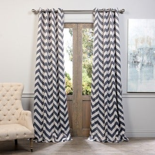 Exclusive Fabrics Fez Grey/Tan Grommet Top Blackout Curtain Panel Pair
