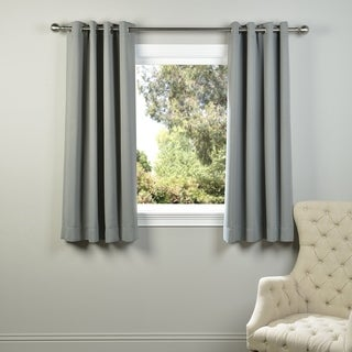 Exclusive Fabrics Thermal Blackout Grommet 63-inch Curtain Panel Pair - 50 x 63 (Neutral Grey)