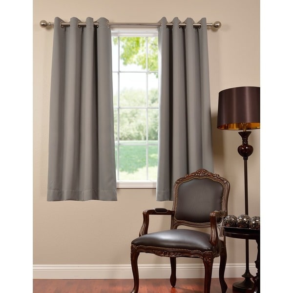Construction Time Lined Curtains: Exclusive Fabrics Thermal Blackout Grommet 63-inch Curtain