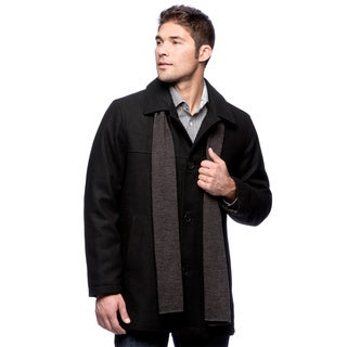 Izod Men's Wool Car Coat With Scarf