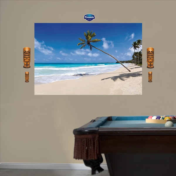 Fathead tropical beach mural wall decals free shipping for Beach wall mural decals