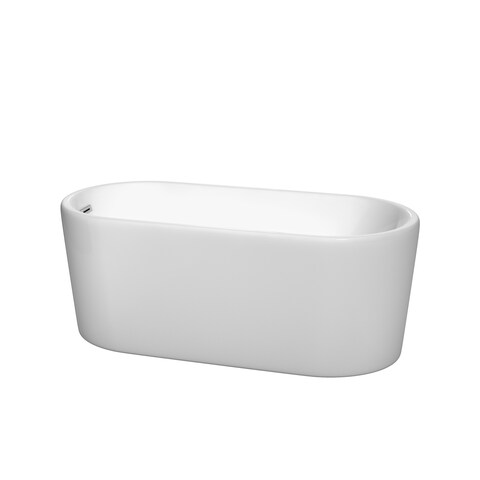 Wyndham Collection Ursula White Acrylic 59-inch Oval Soaking Bathtub