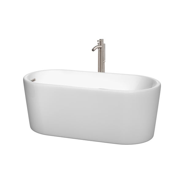 Wyndham Collection Ursula White Acrylic 59-inch Oval Soaking Bathtub with Optional Tub Filler