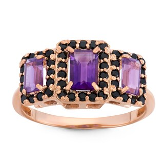 Gioelli Rose Goldplated Sterling Silver Amethyst And Black Spinel Emerald Cut Ring