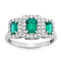 Gioelli Sterling Silver Created Emerald And Created White Sapphire Emerald Cut Ring