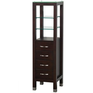 Wyndham Collection Fiona 60-inch Bathroom Linen Tower in Espresso with Shelved Cabinet Storage and 4 Drawers