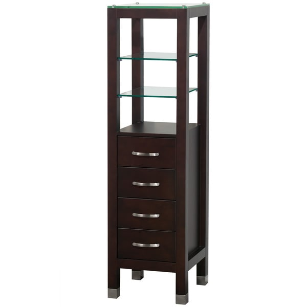 Wyndham Collection Fiona 60 Inch Bathroom Linen Tower In Espresso With Shelved Cabinet Storage