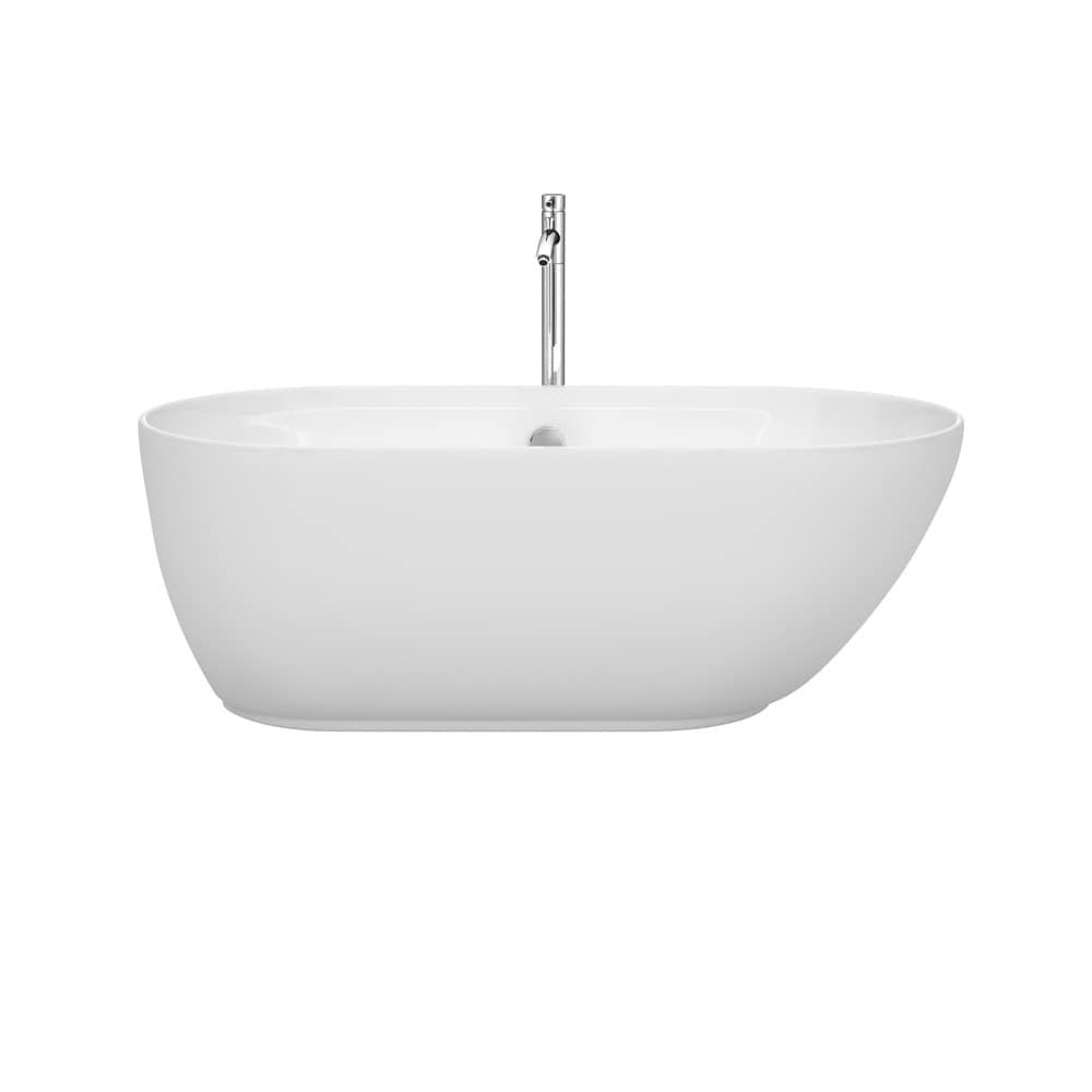 Wyndham Melissa 60-inch Freestanding Soaking Bathtub in W...