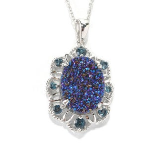 Sterling Silver Blue Drusy London Blue Topaz Necklace