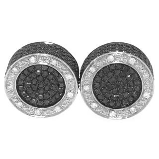 Sterling Silver 1ct TDW Black and White Diamond Stud Earrings