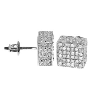 Sterling Silver 1/3ct TDW Diamond Pave-set Square Earrings (H-I, I2-I3)