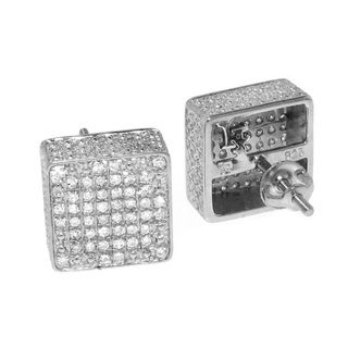 Sterling Silver 3/8ct TDW Pave-set Diamond Cube Earrings