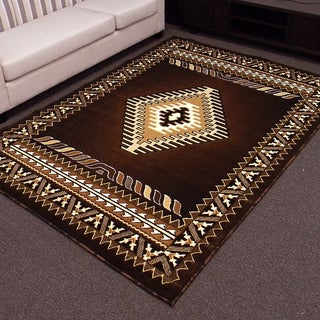 DonnieAnn Kingdom Design in Brown Southwestern Pattern 5'x7' Area Rug