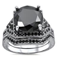 Noori 14k White Gold 5 1/4ct Round Black Diamond Bridal Ring Set