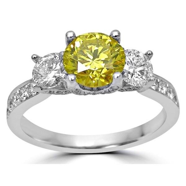 Noori 18k Gold 1 2ct Canary Yellow And White Round Diamond Three Stone Engagement