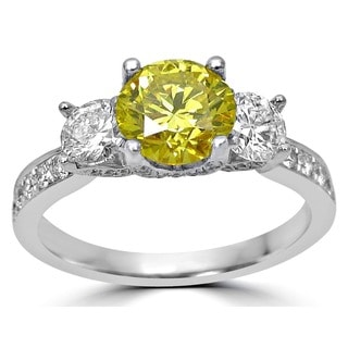 Noori 18k White Gold 1 4/5 ct Canary Yellow and White Round Diamond Three-stone Engagement Ring