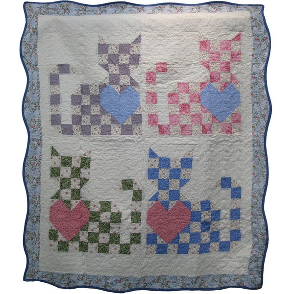 Must Love Cats Quilted Throw Blanket