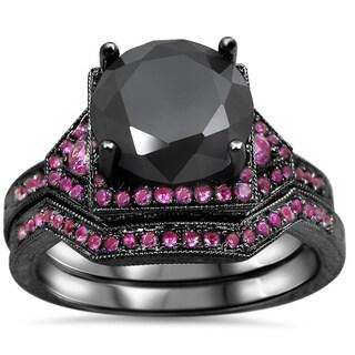 Noori 14k Black Gold 2 1/2ct Black Round Diamond Pink Sapphire Bridal Ring Set