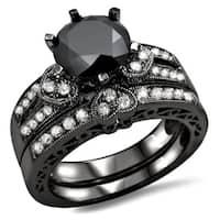 Noori 14k Black Gold 2 2/5ct Black and White Round Diamond Heart Bridal Ring Set (G-H, SI1-SI2)