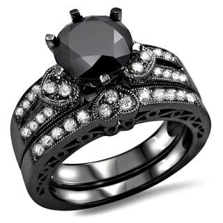 noori 14k black gold 2 25ct black and white round diamond heart bridal ring - Black And Silver Wedding Rings