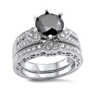 Noori 14k White Gold 2 2/5ct Black and White Round Diamond Heart Bridal Ring Set (G-H, SI1-SI2)